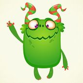 Happy Cartoon Monster. Vector Halloween Green Monster With Big Ears. Big Set Of Cartoon Monsters poster