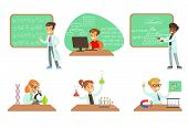 Kids Doing Science Research In School Science Class Laboratories, Educational Science Activities For poster