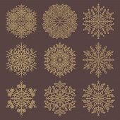 Set Of Golden Snowflakes. Fine Winter Ornaments. Snowflakes Collection. Snowflakes For Backgrounds A poster