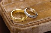 Two-tone Wedding Rings In Velvet Jewelry Box. Gold And Silver Rings In Jewelry Holder Box poster