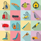Vacuum Cleaner Washing Appliance Icons Set. Flat Illustration Of 16 Vacuum Cleaner Washing Appliance poster