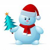 Snowman with Santa Cap and Christmas Tree
