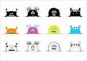 Monster Set. Hands Holding Line. Black, Colorful, Lined Silhouette. Cute Cartoon Scary Funny Charact poster