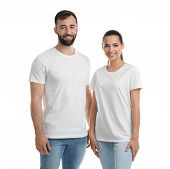 Young Couple In T-shirts On White Background. Mockup For Design poster