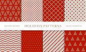 Set Of Winter Holiday Seamless Patterns. Merry Christmas And Happy New Year. Collection Of Simple Ge poster