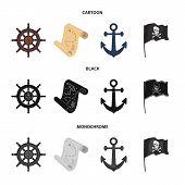 Pirate, Bandit, Rudder, Flag .pirates Set Collection Icons In Cartoon, Black, Monochrome Style Vecto poster