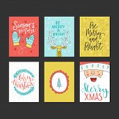 Big Collection Of Handdrawn Christmas And New Year Handdrawn Cards. Lettering And Illustrations For  poster