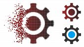 Vector Cogwheel Icon In Sparkle, Dotted Halftone And Undamaged Solid Variants. Disappearing Effect U poster