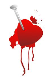 picture of broken heart  - Grunge broken heart and blood on a white background - JPG