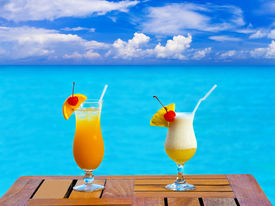 picture of beach party  - Two cocktails on table  - JPG