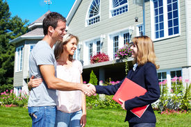 picture of real-estate agent  - Happy family with agent realtor near new house - JPG
