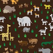 Seamless retro fifties african zoo animals pattern