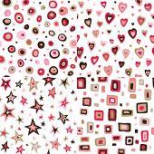 Seamless retro fifties squares, circles, stars, hearts design patterns