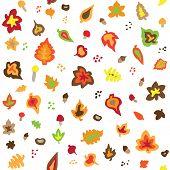 Seamless retro fifties autumn leaves pattern
