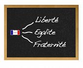 stock photo of liberte  - Illustration with a isolated blackboard with France - JPG