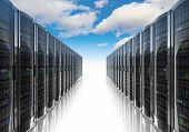 stock photo of racks  - Cloud computing and computer networking concept - JPG