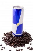 Energy drink and coffee beans