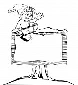 Cute Christmas Elf Sign