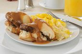 foto of biscuits gravy  - Sausage and biscuits iwth gravy and scrambled eggs - JPG
