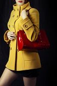 Spring Or Autumn Coat And Red Bag