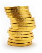 A stack of chocolate coins on a white background