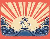 Paradise Island On Grunge Paper Background With Sun