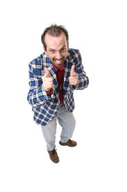 stock photo of think positive  - guy in plaid jackt - JPG