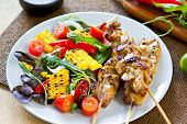 picture of rocket salad  - Grilled chicken skewer with grilled vegetables salad - JPG