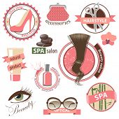 Highly detailed set of beauty and fashion emblems