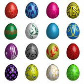 Set of sixteen Delux Blend Color Easter eggs with different ornaments