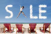 Advertising Sale Cloud And Girl Jump Over Beach Chairs