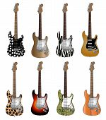 Set of eight deluxe colors electric guitars