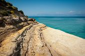 picture of sidari  - One of many shore clifs on the beach of Sidari Corfu Kerkyra Greece - JPG
