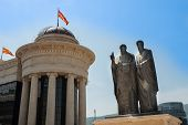Statue Of Cyril And Methodius Beside The Macedonian Archeological Museum In Skopje, Macedonia (fyrom
