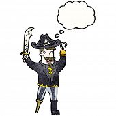 image of peg-leg  - cartoon pirate captain with hook hand - JPG