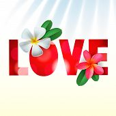 Love card with Frangipani flowers