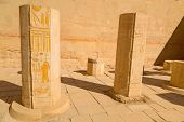 Decorated columns in the Temple of Queen Hatshepsut in Egypt