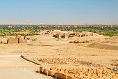 image of hatshepsut  - Desert at the Temple of Queen Hatshepsut with archaeologist house in Egypt - JPG