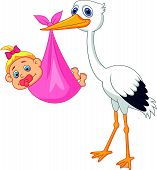 stock photo of stork  - Vector illustration of Stork with baby girl cartoon - JPG