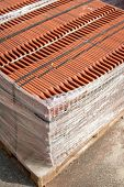 Stack Of Roofing Tiles Packaged