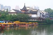 Nanjing Confucius Temple And The Boat On The River