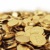 image of bit coin  - Golden Bitcoin coin  - JPG