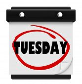 The word Tuesday circled on a small wall calendar to illustrate the day of the week and remind you o