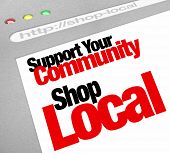 The words Support Your Community Shop Local on a computer screen showing a website store or business
