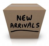 picture of shipping receiving  - The words New Arrivals written on a cardboard box full of the latest and newest products and merchandise delivered to the store - JPG