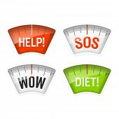 Bathroom scales displaying Help, SOS, Wow and Diet messages. Vector.
