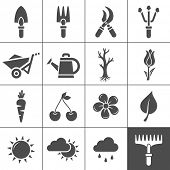 stock photo of wheelbarrow  - Gardening Icons Set - JPG