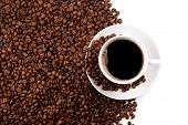 pic of peppy  - cup of black coffee and roasted coffe beans on a white background - JPG
