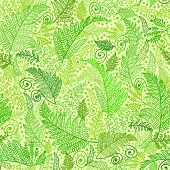 picture of fern  - Vector Line Art Fern Leaves Seamless Pattern Background with hand drawn textured fern plants - JPG