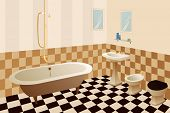 image of bath tub  - a new modern light empty bathroom vector - JPG